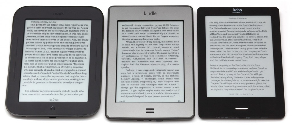 kindle-touch-kobo-nook-четец-книга