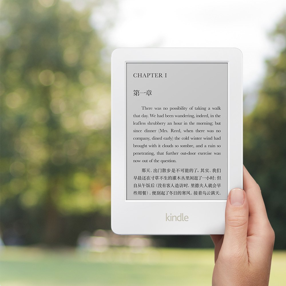 White All new Kindle 6 now with touch eBook Reader 4GB Wi Fi 6 E Ink Amazon пусна Kindle Glare в бял цвят